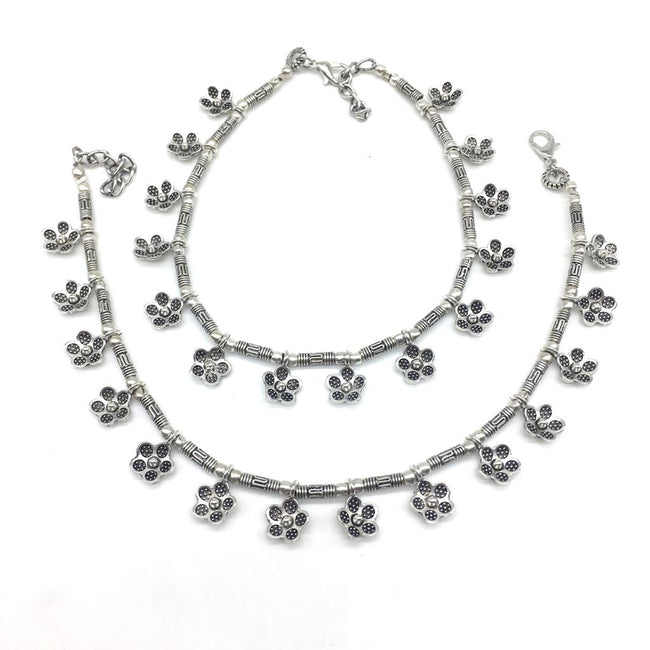 Digital Dress Room Women Anklets with Oxidised Silver Plated Alloy Indian Style Anklets Payal