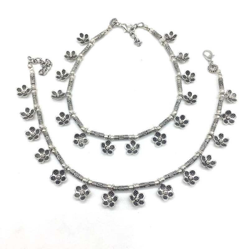 Women Anklets with Oxidised Silver Plated Alloy Indian Style Anklets Payal - DigitalDressRoom