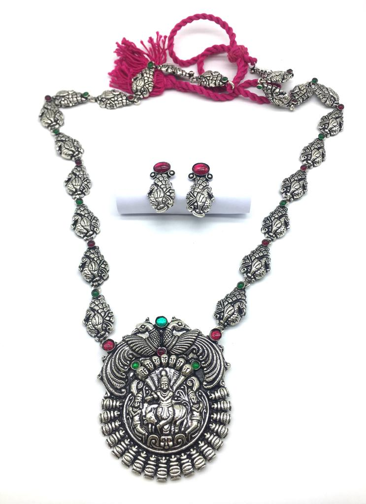 Silver Plated God Lakshmi (Laxmi) Pendant Dancing Peacock Thread Necklace Earring Set - DigitalDressRoom