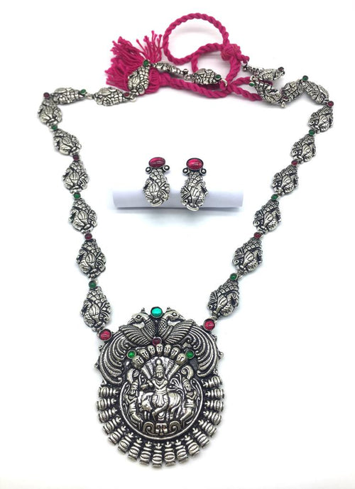 Digital Dress Room Silver Plated God Lakshmi (Laxmi) Pendant Dancing Peacock Thread Necklace Earring Set