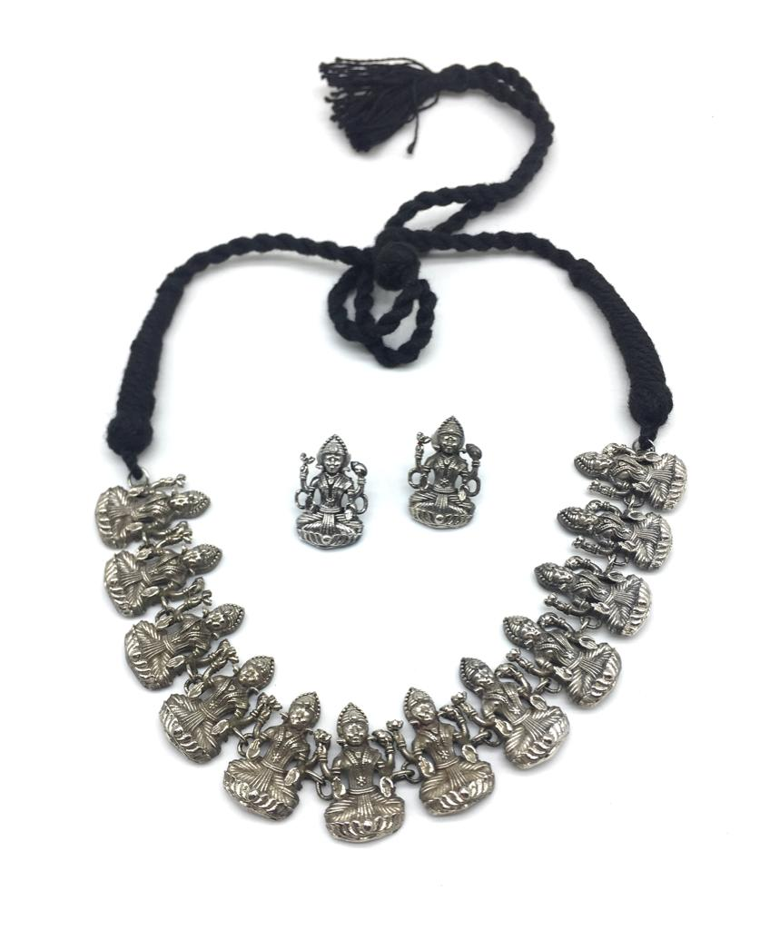 Antique God Lakshmi (Laxmi) Dancing Thread Necklace Earring Set - DigitalDressRoom