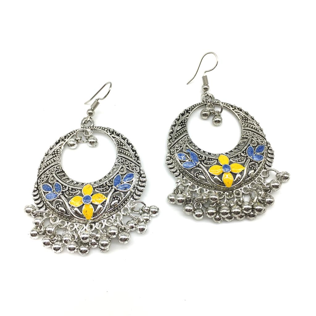 Traditional Light Weight Enamel Work with Silver Hook Earrings