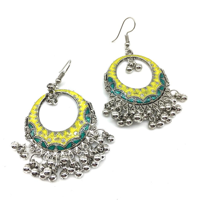Digital Dress Room Traditional Oxidized Light Weight Round Silver Hook Earrings