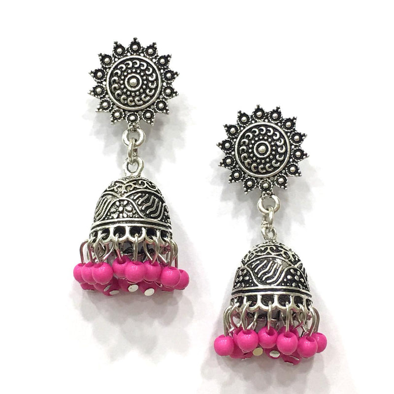 Pink Beads with Silver Jhumki Earring