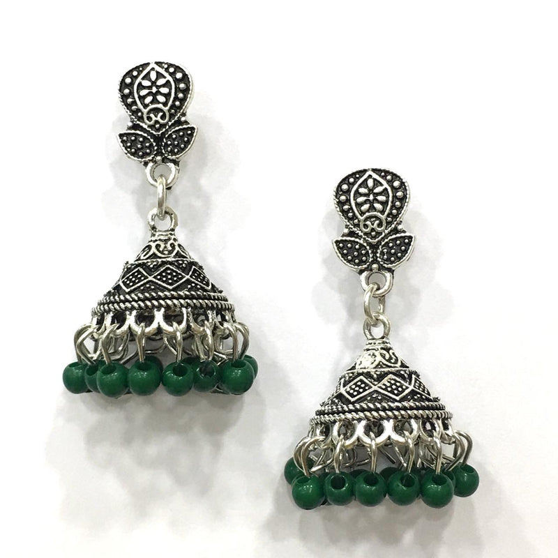 Green Beads Design Silver-Plated Jhumki Earring