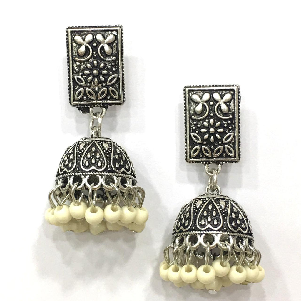 White Beads Design Silver-Plated Jhumki Earring