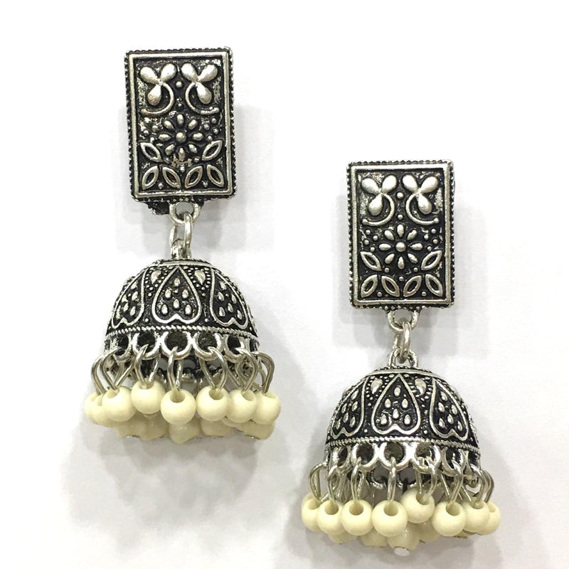 Digital Dress Room White Beads Design Silver-Plated Jhumki Earring