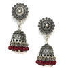 Red Beads Design Silver-Plated Jhumki Earring