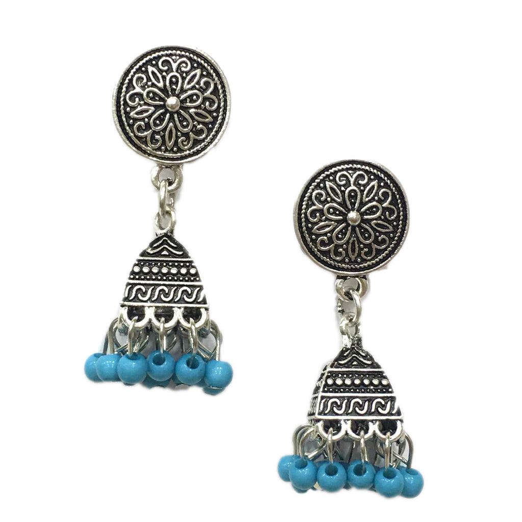 Blue Beads Design Silver-Plated Jhumki Earring