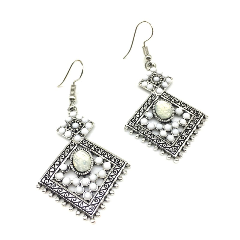 Traditional Handcrafted Light Weight Silver Beads Work Dangle Drop Earring