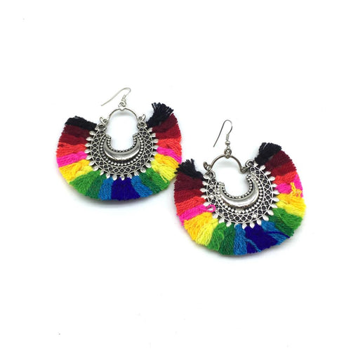 Digital Dress Room Multicolor Tassel Dangle Chand Bali Earrings