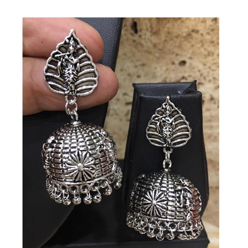 Digital Jhumki Earrings for Women Designer Oxidised Silver Earrings Afghani Tribal Boho Vintage German Silver Plated Stylish Party Wear Dangle Drop Earrings Jaipuri Tribal Banjaran krishna Earrings