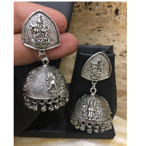 Digital Dress Room Oxidized Silver Afghani Tribal Ganesha God Temple Jhumki Earrings