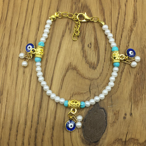 Digital Dress Room White Pearl Rakhi With Evil Eye Charms Bracelet