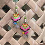 Digital Dress Room Silver Plated Earring with Multicolored Embroidered Floral & Owl beads Hook Earrings