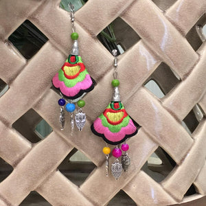 Silver Plated Earring with Multicolored Embroidered Floral & Owl beads Hook Earrings