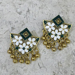 Enamel Work Earring with Gold Plated Oxidized Floral Design Alloy Stud Earrings