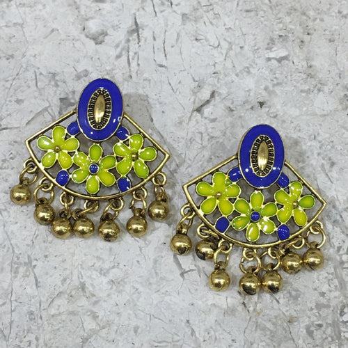 Digital Dress Room Gold Plated Earring with Floral Design Enamel Work Alloy Stud Earrings