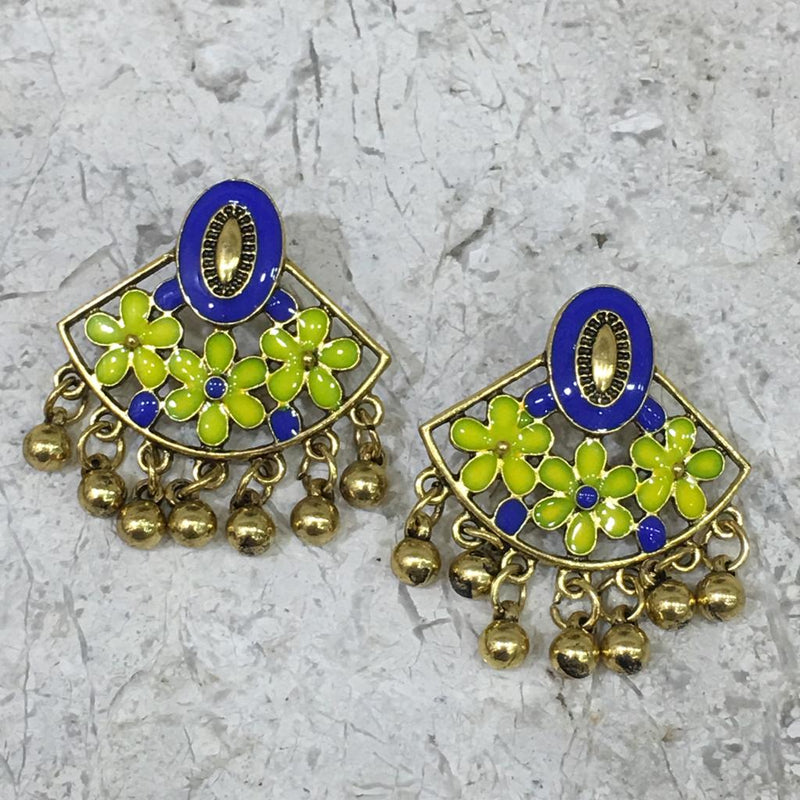 Blue Floral Gold Plated Oxidised Alloy Stud Earrings