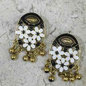 Traditional Gold Earring with Enaml Work and Dangling Gold Balls