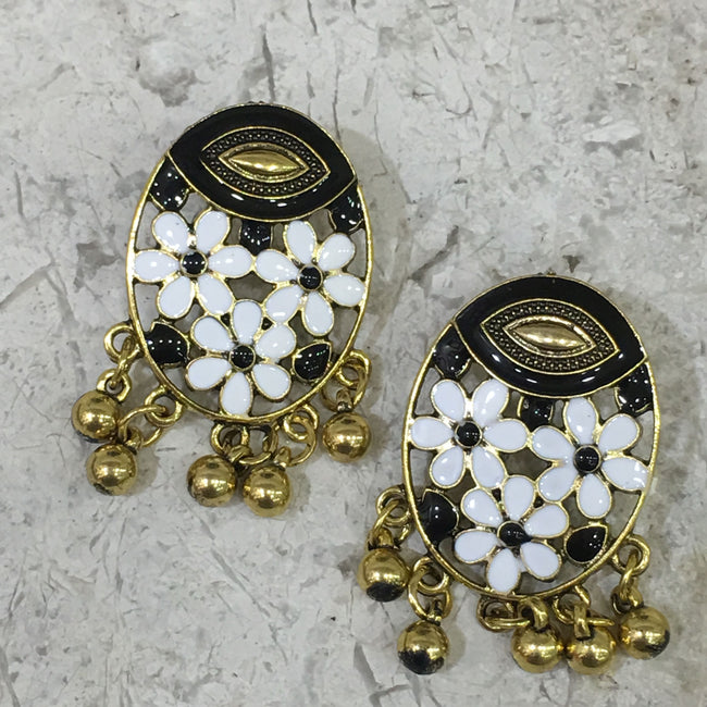 Digital Dress Room Traditional Gold Earring with Enaml Work and Dangling Gold Balls
