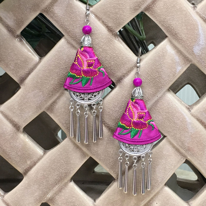 Digital Dress Room Ethinic Embrodered Earring with Silver Danglers