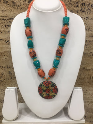 Tibetan Orange and Blue Pendent Necklace