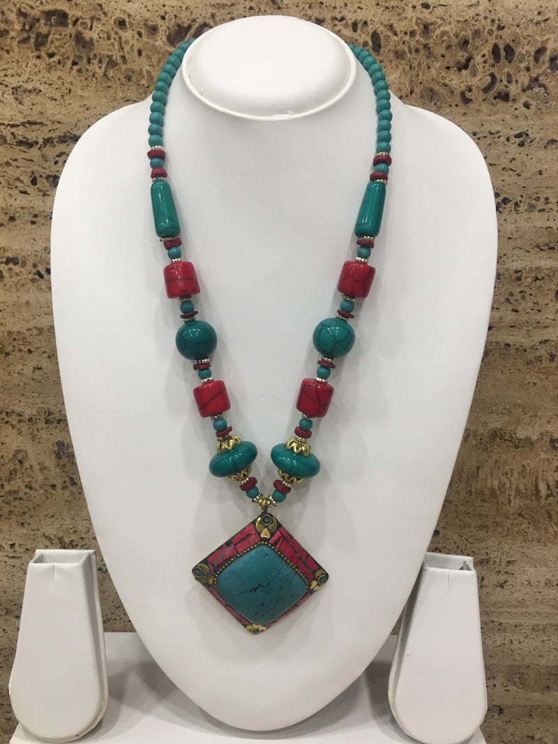 Tibetan Turcoise & Red Pendent Necklace