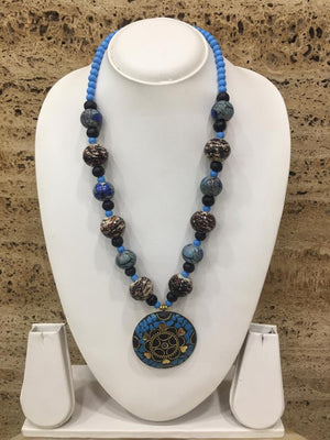 Traditional Afghani Tibetan Gold Plate Brass Multi-Color Pendant Black Stone Blue Beads Necklace