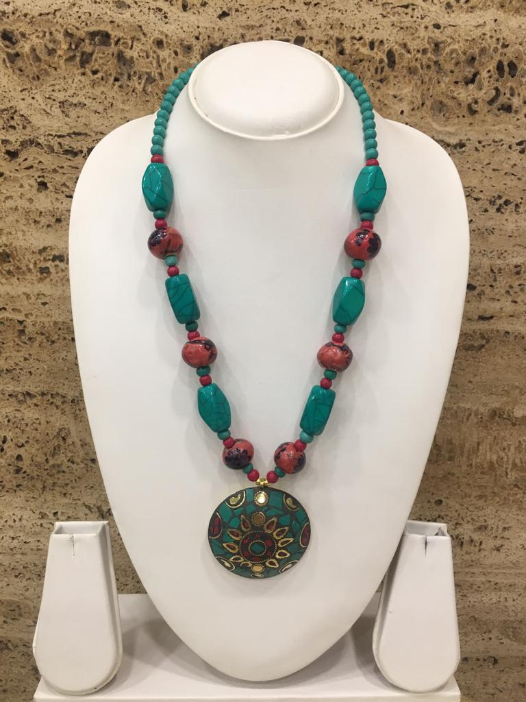 Traditional Afghani Tibetan Gold Plate Brass Multi-Color Pendant Turquoise Stone Red Beads Necklace