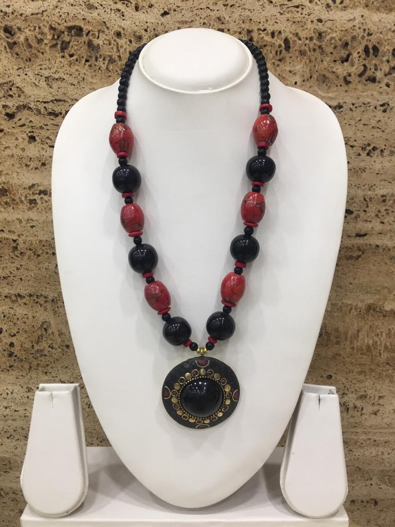 Traditional Afghani Tibetan Gold Plate Brass Multi-Color Pendant Red Stone Black Beads Necklace