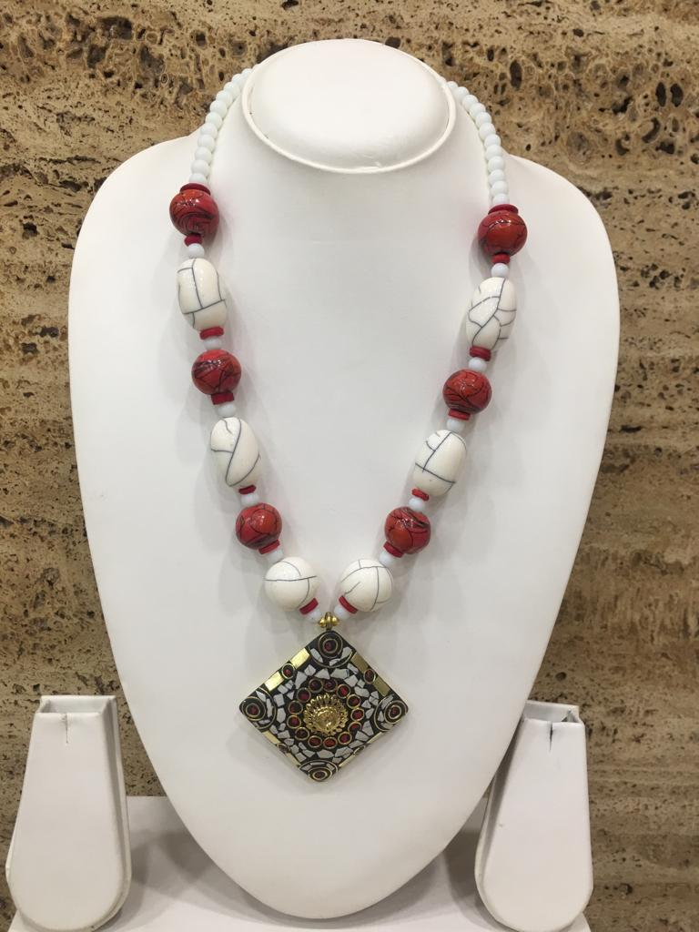 Traditional Afghani Tibetan Gold Plate Brass Multi-Color Pendant Red Stone with White Beads Necklace