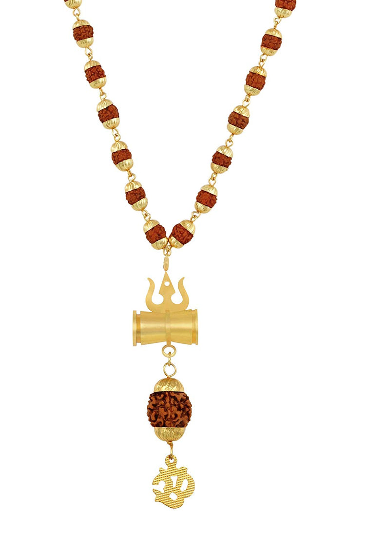 Digital Dress Room Rudraksh Gold Plated Shiva Om Inspired Mala Pendant Set For Men & Women