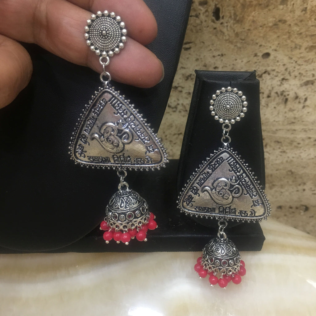 Traditional Silver Om and Jhumki earrings