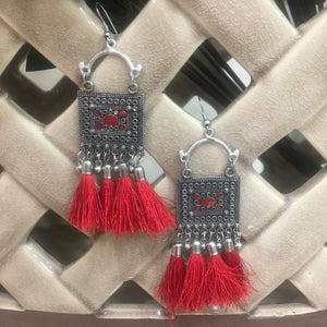 Traditional Silver & Red Hook Earring with Red Tassels - DigitalDressRoom