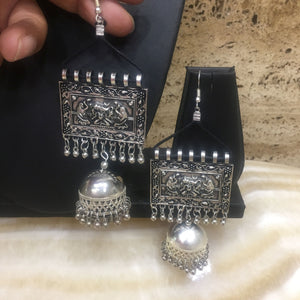 Traditional Handcrafted Silver Hook Earring with Jhumkis