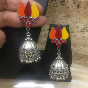 Traditional Handcrafted Silver Jhumki Earring with Enamal work - DigitalDressRoom