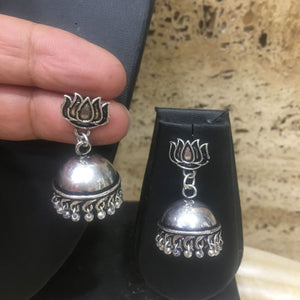 Traditional Handcrafted Silver Jhumkis Earring