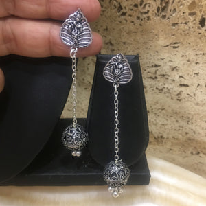 Traditional Silver Earring with Leaf stud Lord Krishna & Round Ball Danglers