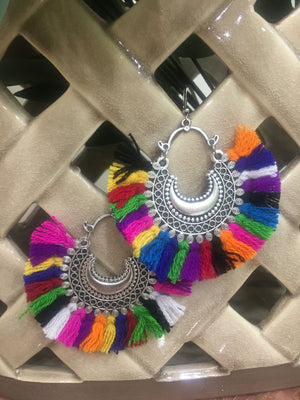 Multi color Silver Chandbali