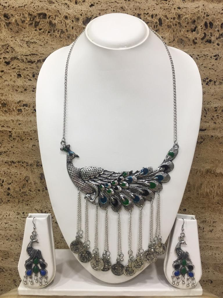 Silver Plated Tribal Peacock Hasli Chain Necklace Earring Set