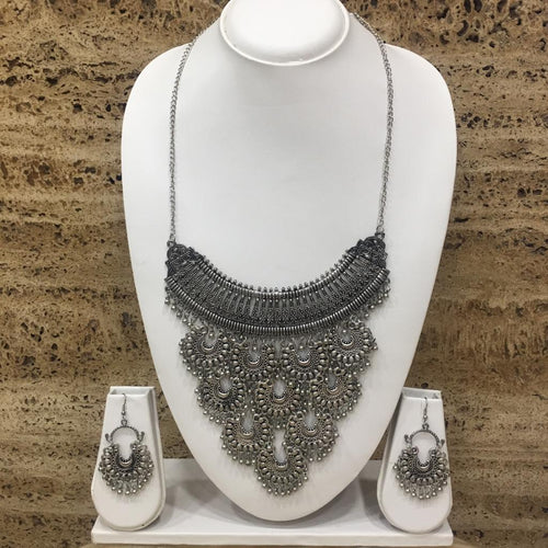 Digital Dress Room Antique Oxidised Silver Plated Chandbali Pendant Chain Necklace Earring Set