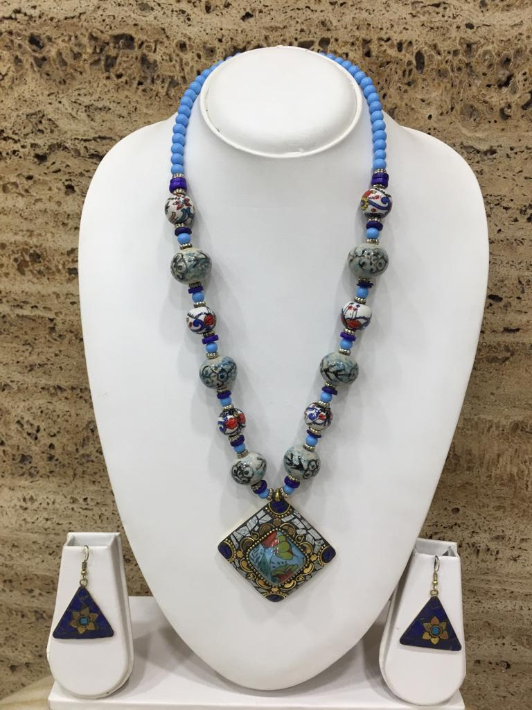 Afghani Tibetan Gold Plate Brass Multi-Color Pendant Grey Stone Blue Beads Necklace with Earrings