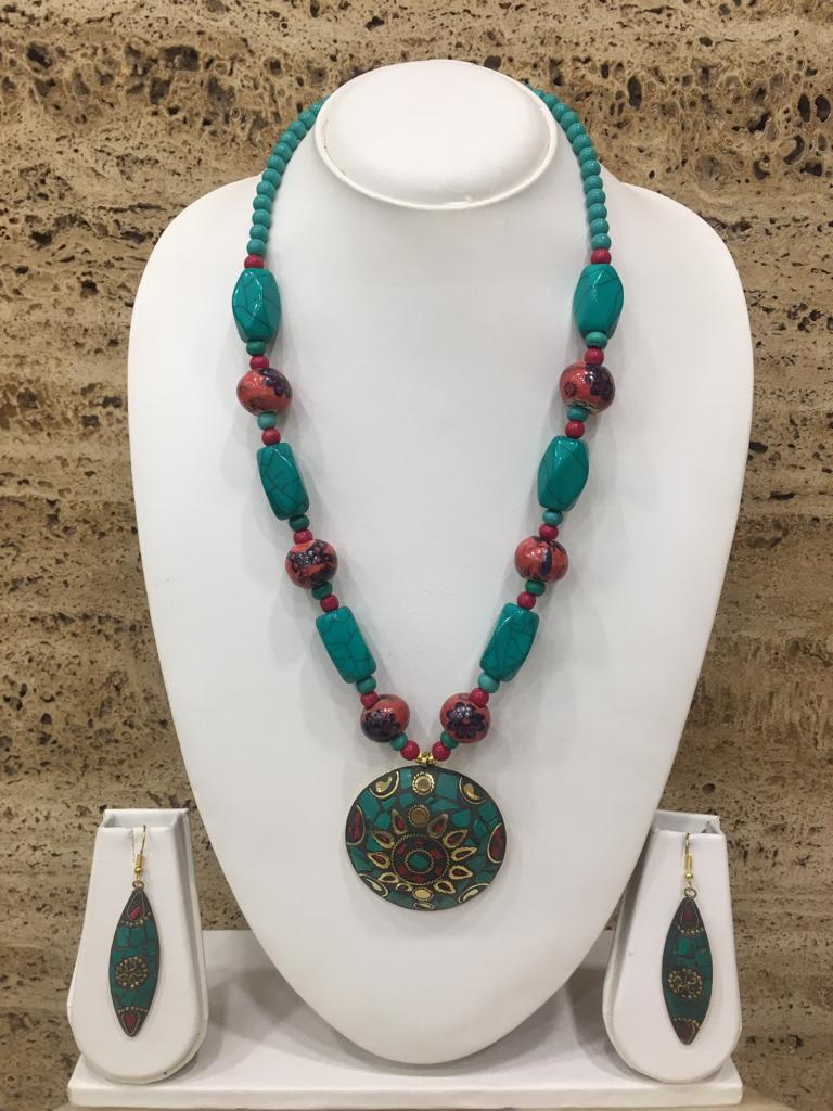 Gold Plate Multi-Color Pendant Red Stone Turquoise Beads Necklace with Earring