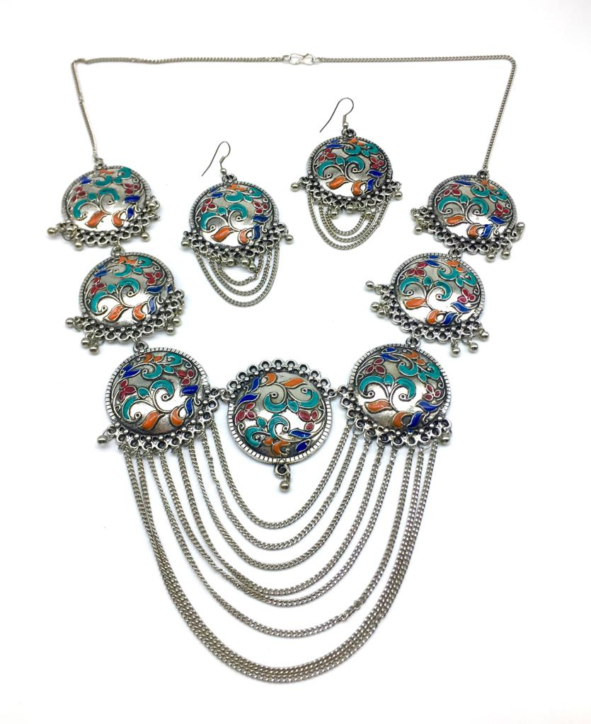 Multi-color Meenakari Work Pendant Chains Necklace Earring Set - DigitalDressRoom