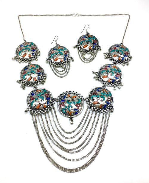 Digital Dress Room Multi-color Meenakari Work Pendant Chains Necklace Earring Set