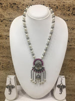 Digital Dress Room Ganesh Ji with Jhumki Pendant White Pearls Beads Necklace Elephant Earring Set