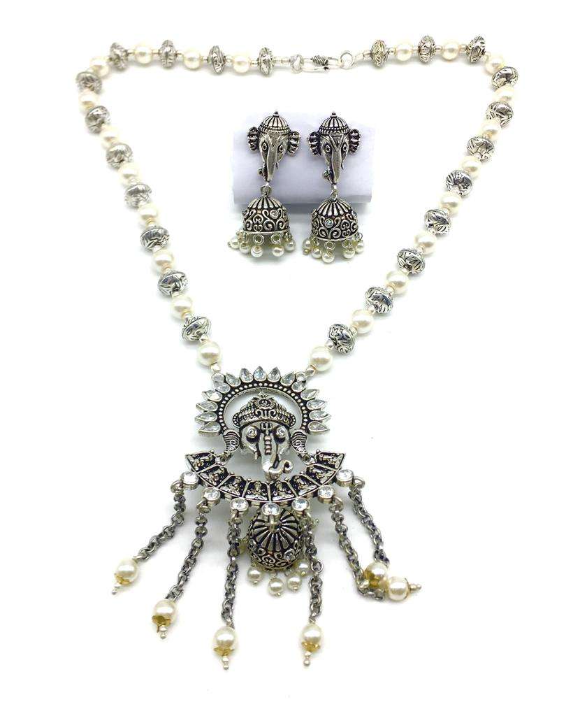 Ganesh Ji Pendant Stone White Pearls Beads Necklace Jhumki Earring Set - DigitalDressRoom