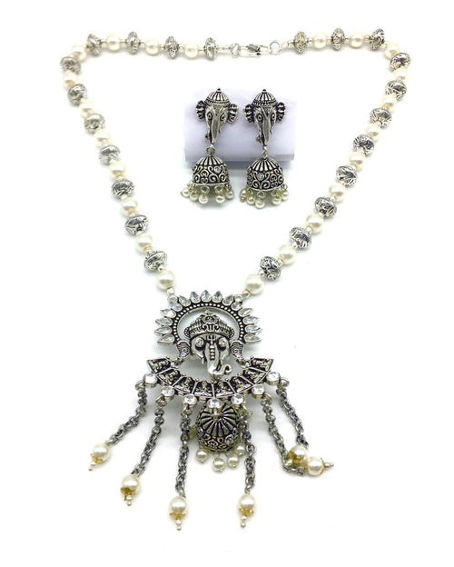 Digital Dress Room Ganesh Ji Pendant Stone White Pearls Beads Necklace Jhumki Earring Set