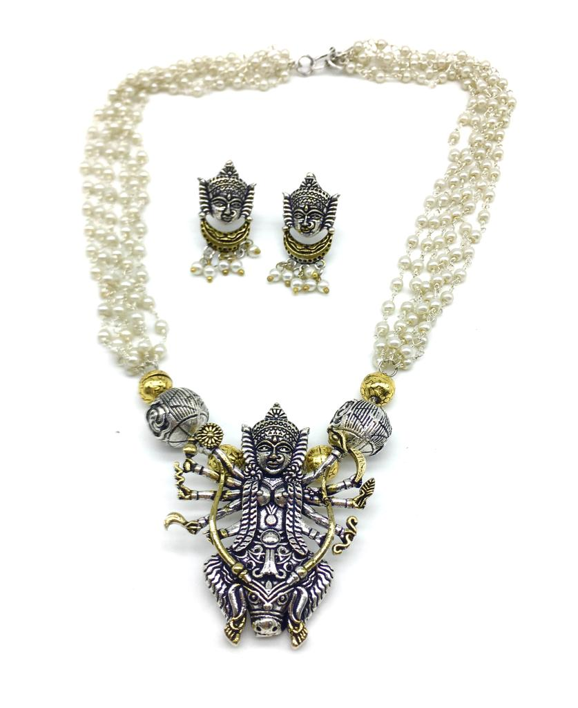 Silver Gold Tone Durga Mata Pendant Multi Layered Pearls Necklace Earring Set - DigitalDressRoom